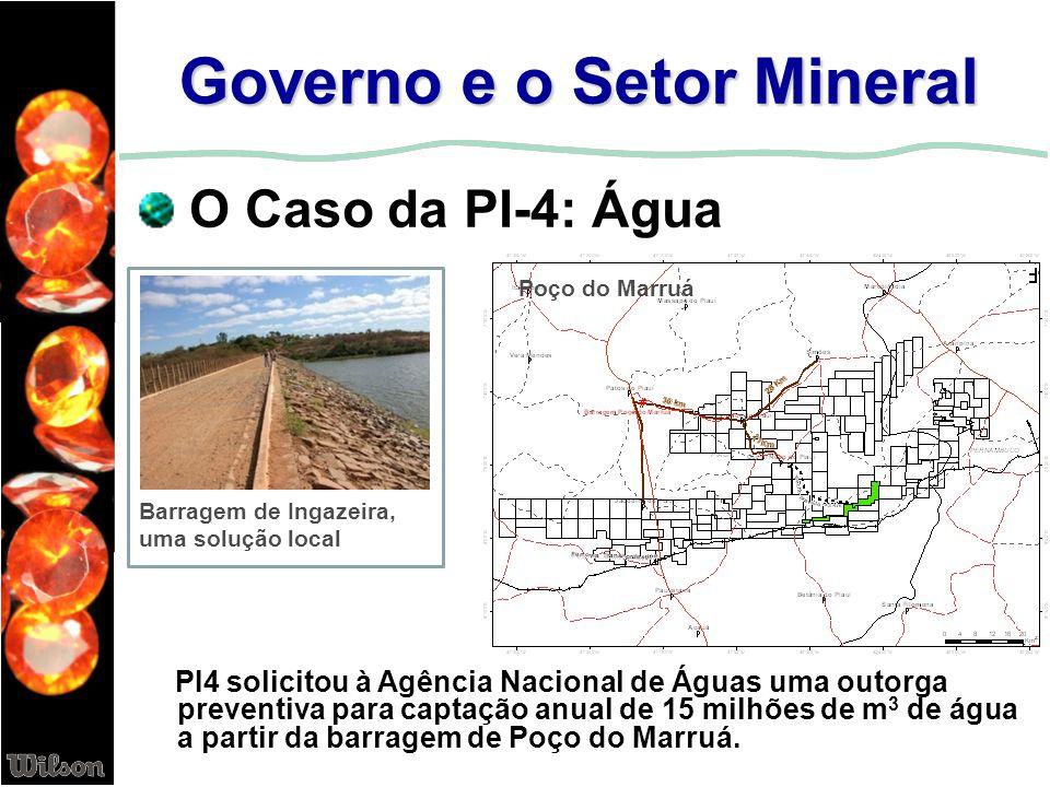 Governo e o Setor Mineral O Caso da PI-4: Água Poço do Marruá Barragem de Ingazeira, uma solução local PI4 solicitou à Agência Nacional de Águas uma o