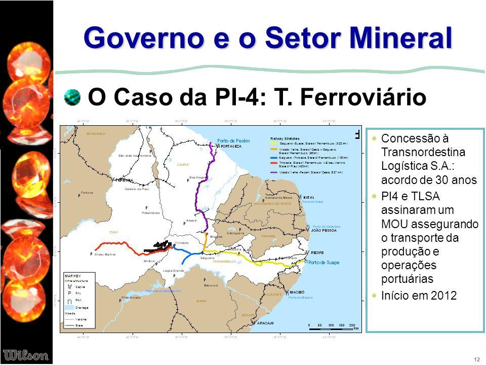 12 Governo e o Setor Mineral O Caso da PI-4: T. Ferroviário Concessão à Transnordestina Logística S.A.: acordo de 30 anos PI4 e TLSA assinaram um MOU