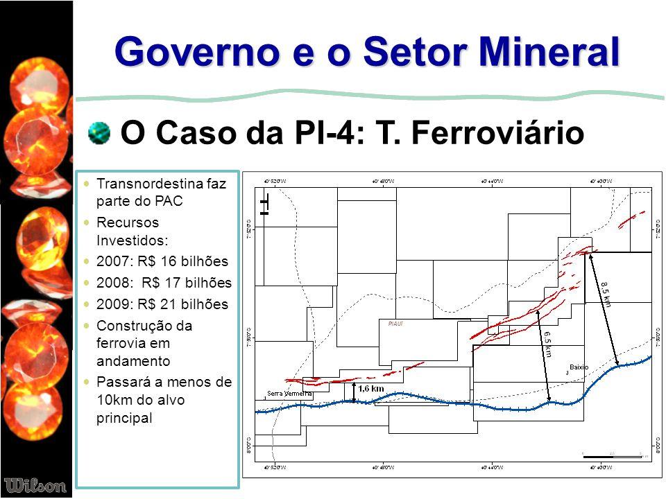 Governo e o Setor Mineral O Caso da PI-4: T. Ferroviário Transnordestina faz parte do PAC Recursos Investidos: 2007: R$ 16 bilhões 2008: R$ 17 bilhões