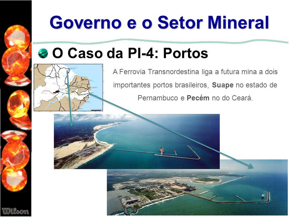 Governo e o Setor Mineral O Caso da PI-4: Portos A Ferrovia Transnordestina liga a futura mina a dois importantes portos brasileiros, Suape no estado