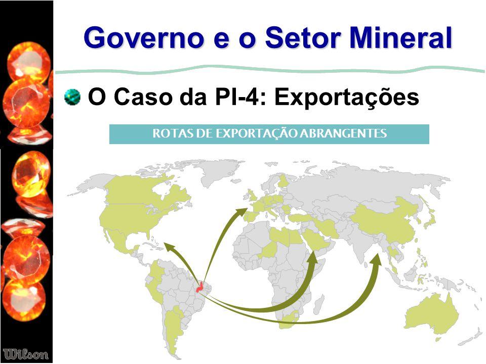 Governo e o Setor Mineral O Caso da PI-4: Exportações ROTAS DE EXPORTAÇÃO ABRANGENTES