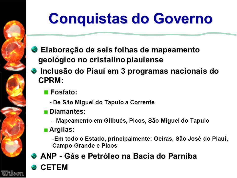 Conquistas do Governo Elaboração de seis folhas de mapeamento geológico no cristalino piauiense Inclusão do Piauí em 3 programas nacionais do CPRM: Fo