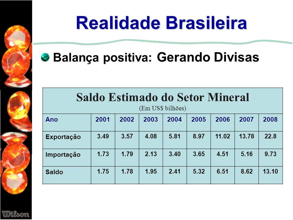 Realidade Brasileira Balança positiva: Gerando Divisas Saldo Estimado do Setor Mineral (Em US$ bilhões) Ano20012002200320042005200620072008 Exportação
