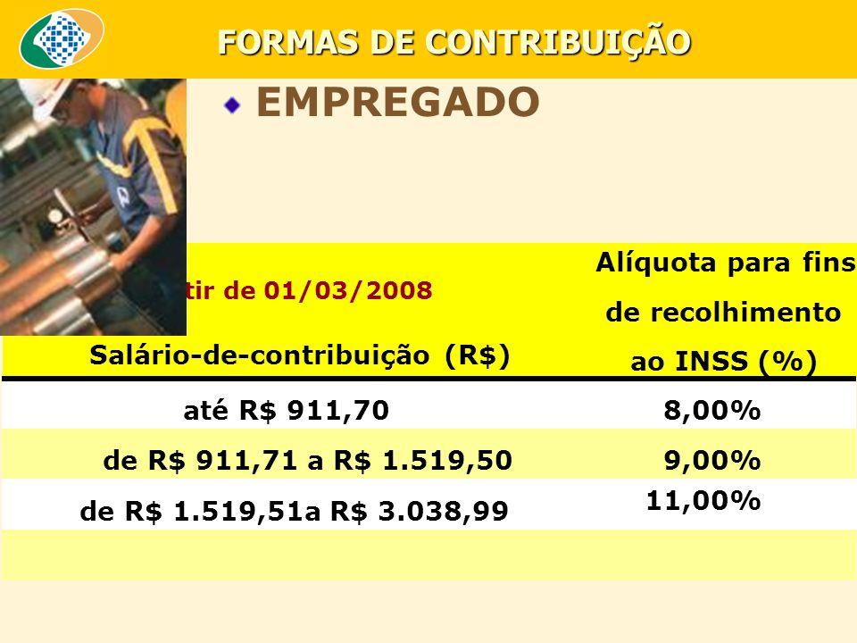 FORMAS DE CONTRIBUIÇÃO A partir de 01/03/2008 Salário-de-contribuição (R$) Alíquota para fins de recolhimento ao INSS (%) até R$ 911,708,00% de R$ 911,71 a R$ 1.519,509,00% de R$ 1.519,51a R$ 3.038,99 11,00% EMPREGADO