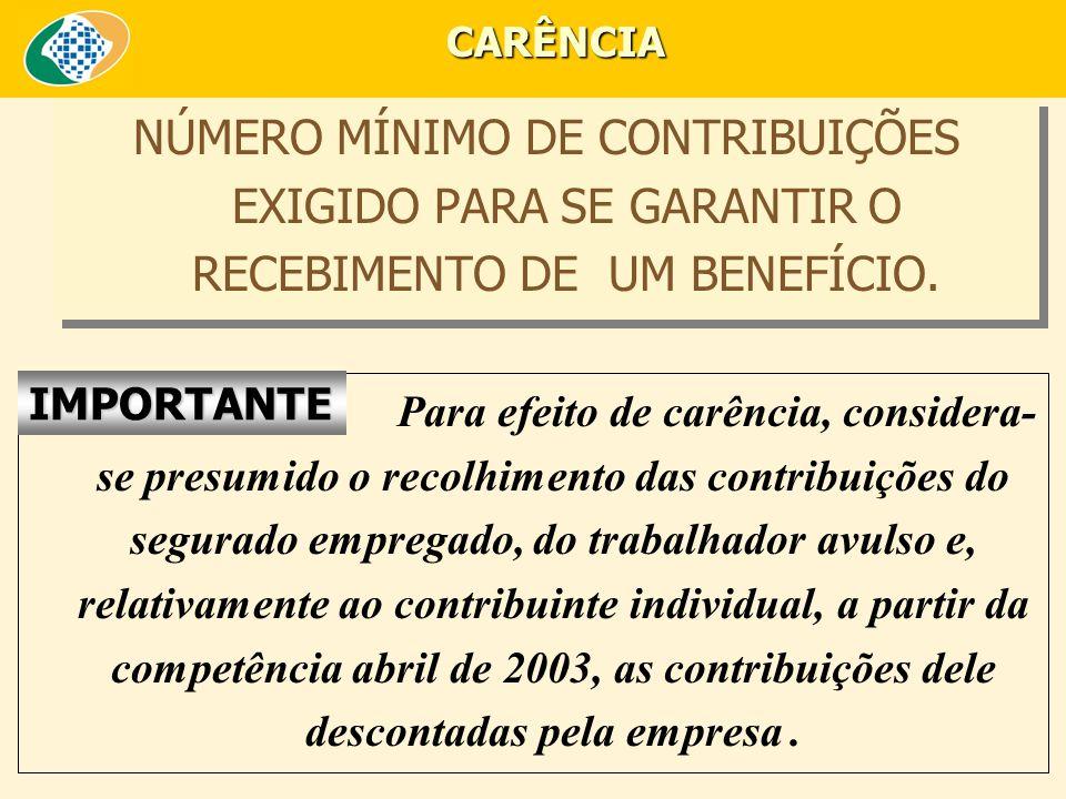NÚMERO MÍNIMO DE CONTRIBUIÇÕES EXIGIDO PARA SE GARANTIR O RECEBIMENTO DE UM BENEFÍCIO.