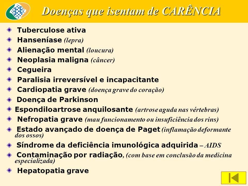 Tuberculose ativa Hanseníase (lepra) Alienação mental (loucura) Neoplasia maligna (câncer) Cegueira Paralisia irreversível e incapacitante Cardiopatia grave (doença grave do coração) Doença de Parkinson Espondiloartrose anquilosante (artrose aguda nas vértebras) Nefropatia grave (mau funcionamento ou insuficiência dos rins) Estado avançado de doença de Paget (inflamação deformante dos ossos) Síndrome da deficiência imunológica adquirida – AIDS Contaminação por radiação, (com base em conclusão da medicina especializada) Hepatopatia grave Doenças que isentam de CARÊNCIA
