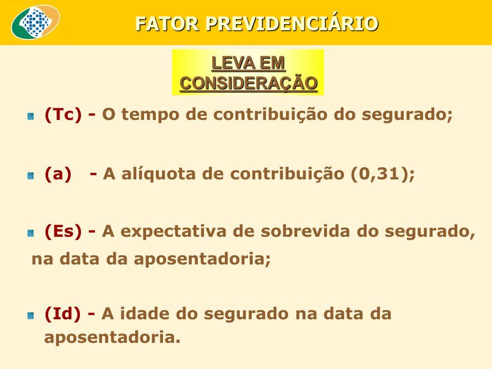 (Tc) - O tempo de contribuição do segurado; (a) - A alíquota de contribuição (0,31); (Es) - A expectativa de sobrevida do segurado, na data da aposentadoria; (Id) - A idade do segurado na data da aposentadoria.