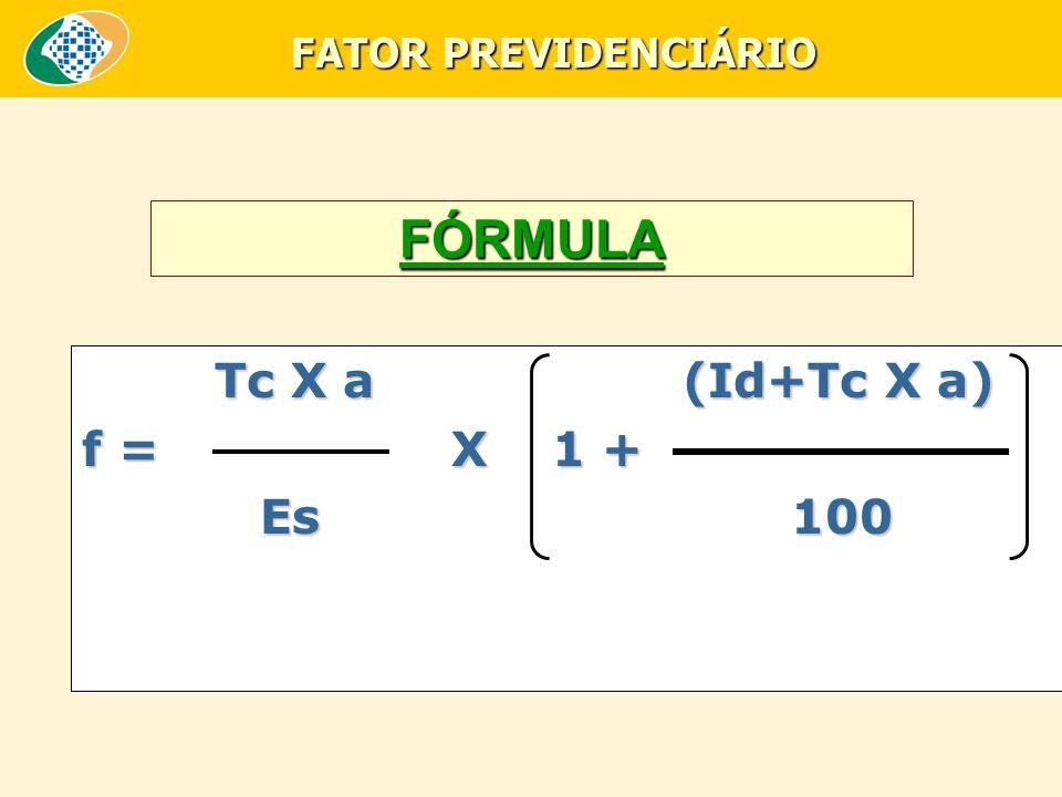 FÓRMULA T c X a (Id+Tc X a) f = X 1 + Es 100 FATOR PREVIDENCIÁRIO