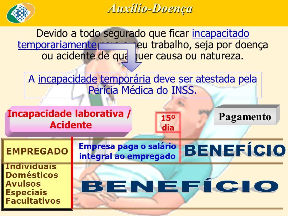 Auxílio-Doença Devido a todo segurado que ficar incapacitado temporariamente para o seu trabalho, seja por doença ou acidente de qualquer causa ou natureza.
