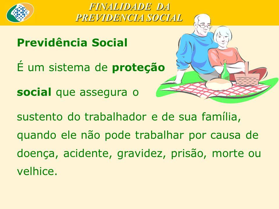 Previdência Social É um sistema de proteção social que assegura o sustento do trabalhador e de sua família, quando ele não pode trabalhar por causa de doença, acidente, gravidez, prisão, morte ou velhice.