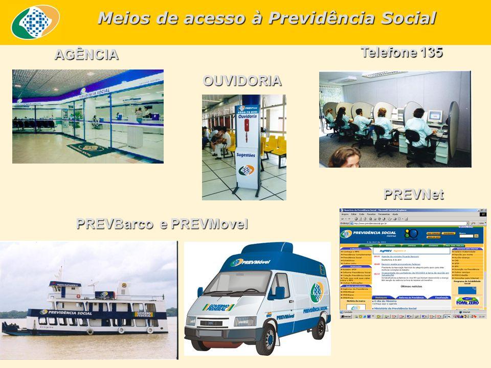AGÊNCIA OUVIDORIA Telefone 135 PREVBarco e PREVMovel PREVNet Meios de acesso à Previdência Social