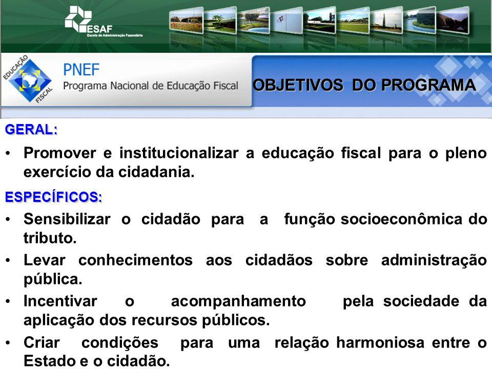 GERAL: Promover e institucionalizar a educação fiscal para o pleno exercício da cidadania.ESPECÍFICOS: Sensibilizar o cidadão para a função socioeconômica do tributo.