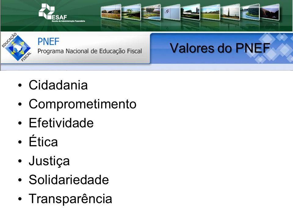 Valores do PNEF Cidadania Comprometimento Efetividade Ética Justiça Solidariedade Transparência
