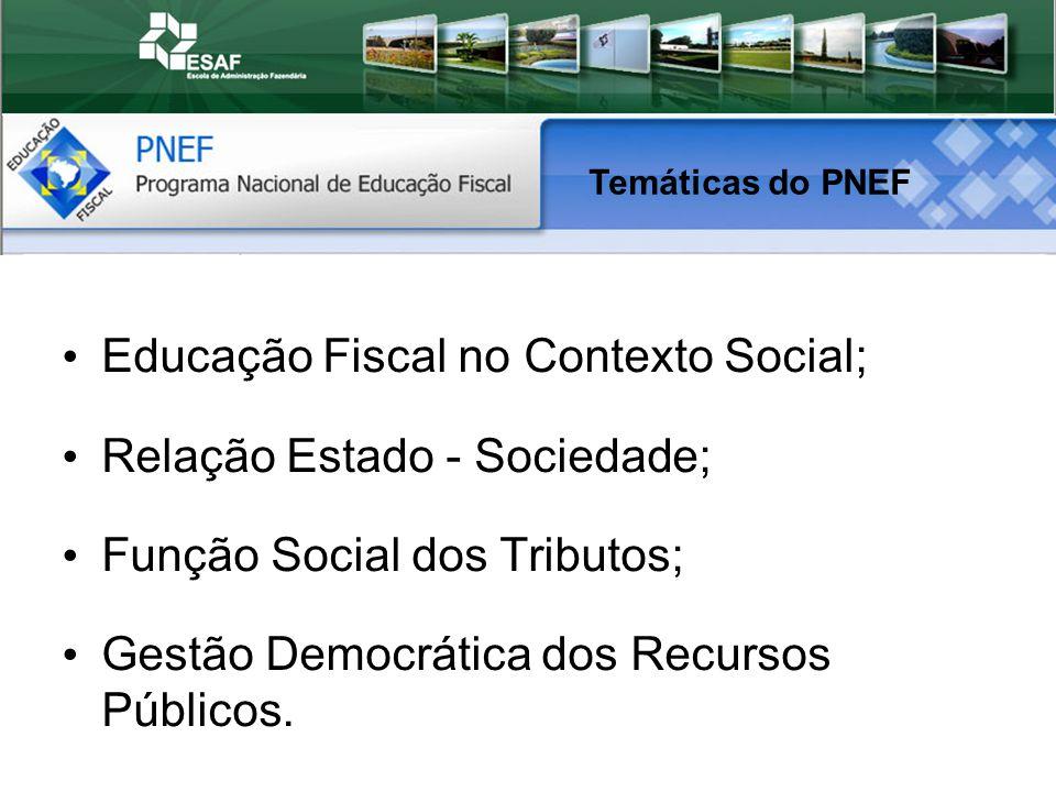 Educação Fiscal no Contexto Social; Relação Estado - Sociedade; Função Social dos Tributos; Gestão Democrática dos Recursos Públicos.