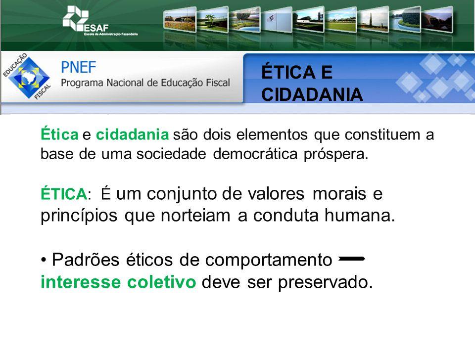 ÉTICA E CIDADANIA Ética e cidadania são dois elementos que constituem a base de uma sociedade democrática próspera.