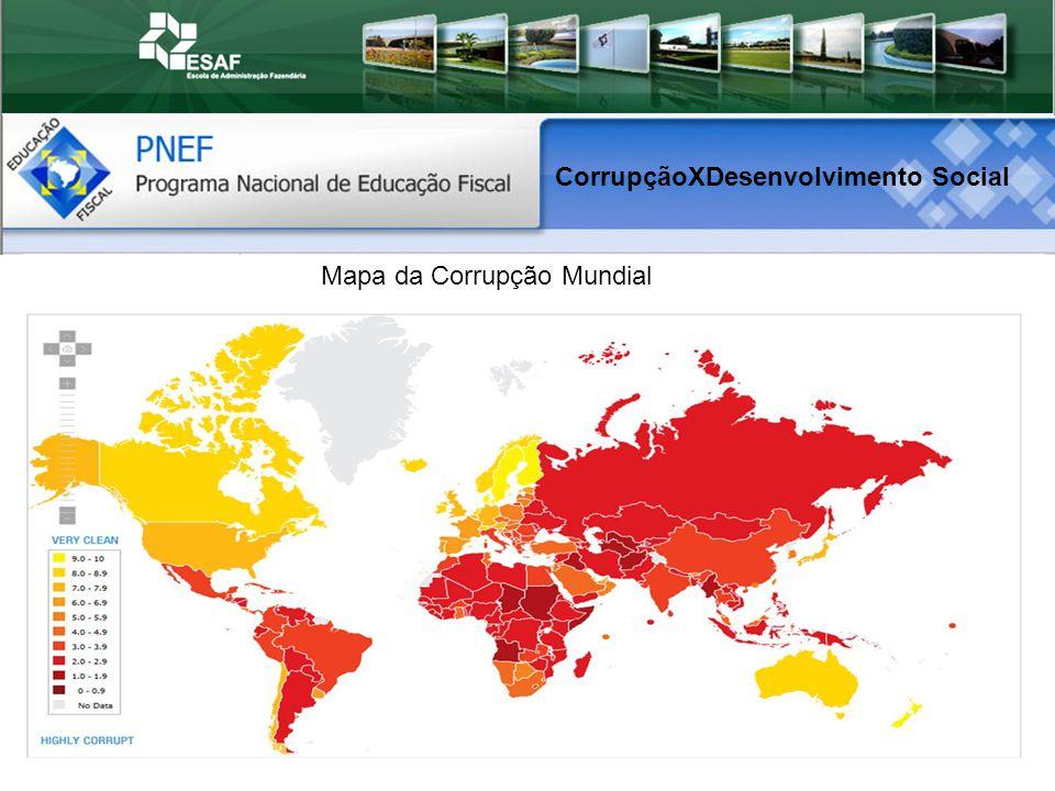 Mapa da Corrupção Mundial CorrupçãoXDesenvolvimento Social