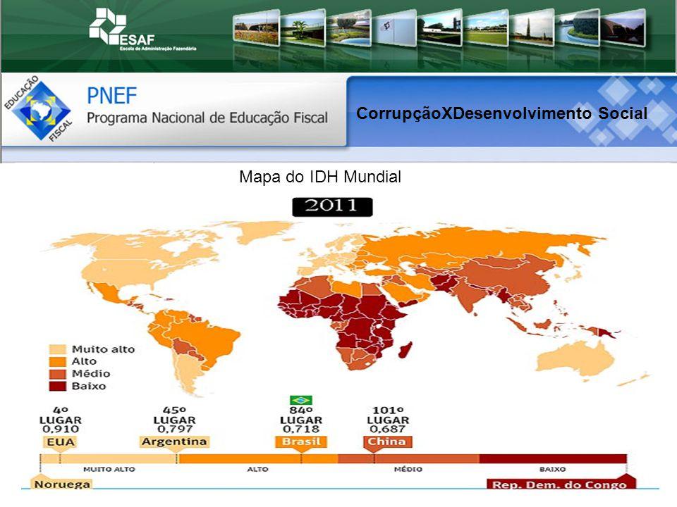 Mapa do IDH Mundial CorrupçãoXDesenvolvimento Social