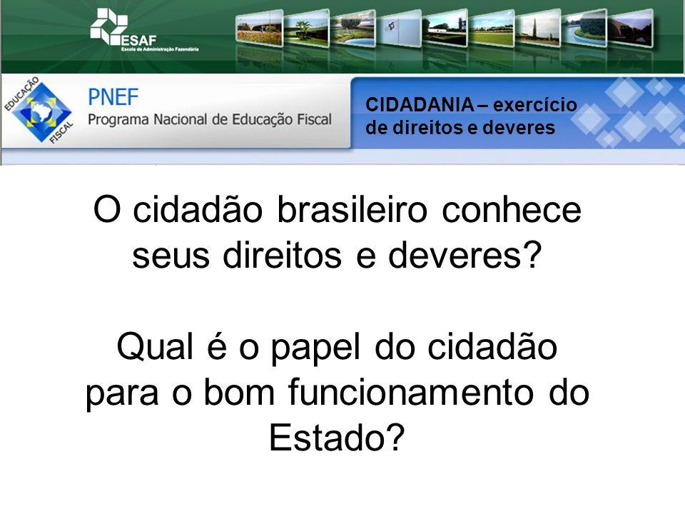 CIDADANIA – exercício de direitos e deveres O cidadão brasileiro conhece seus direitos e deveres.