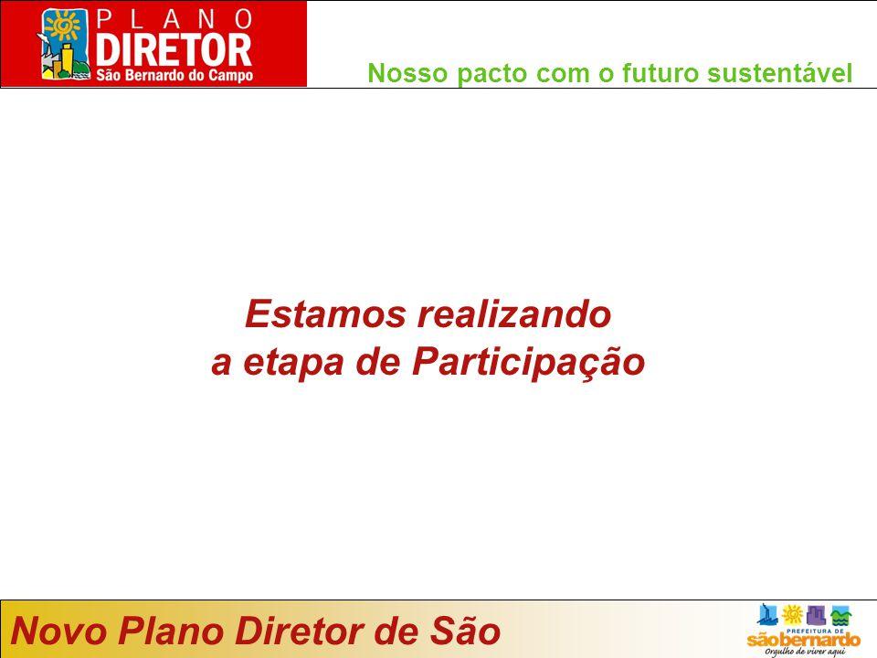 Novo Plano Diretor de São Bernardo Nosso pacto com o futuro sustentável Estamos realizando a etapa de Participação