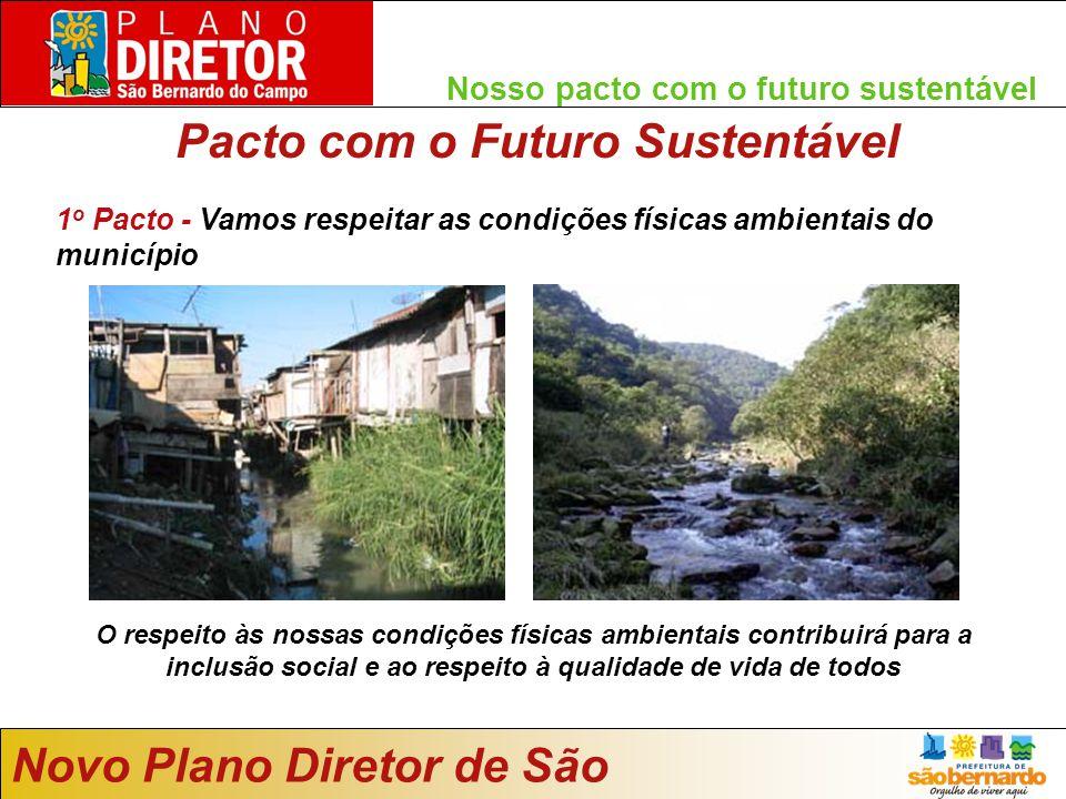 Nosso pacto com o futuro sustentável 1 o Pacto - Vamos respeitar as condições físicas ambientais do município Novo Plano Diretor de São Bernardo O respeito às nossas condições físicas ambientais contribuirá para a inclusão social e ao respeito à qualidade de vida de todos Pacto com o Futuro Sustentável