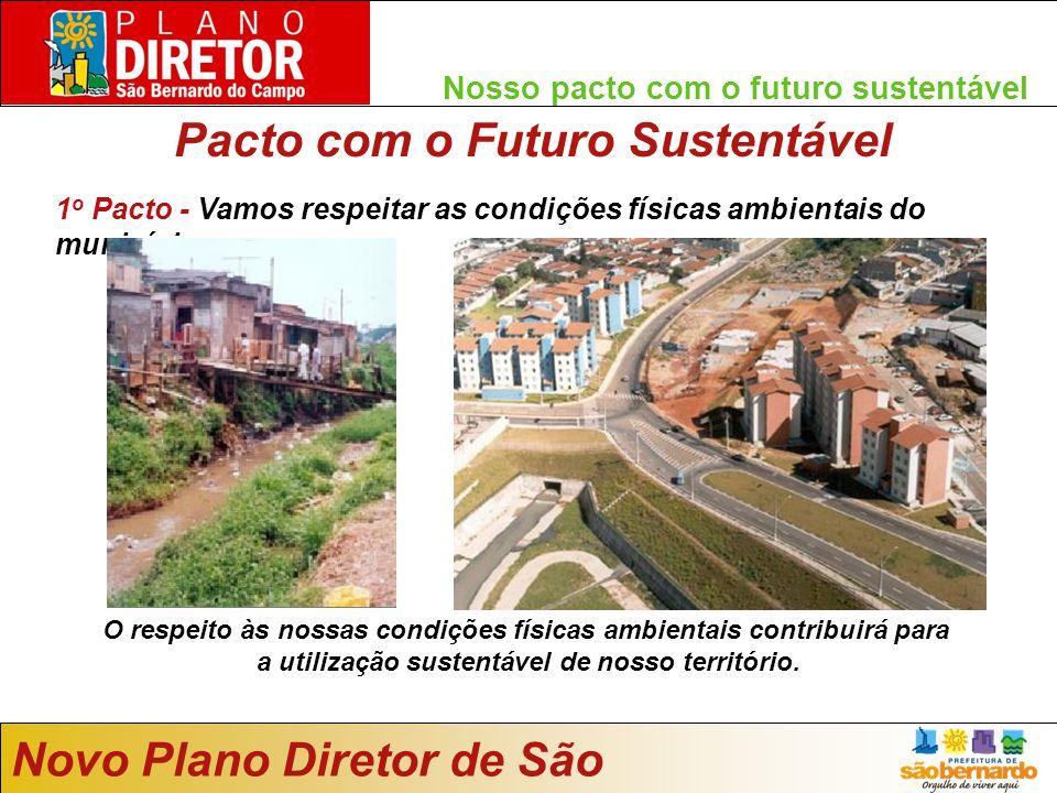 Nosso pacto com o futuro sustentável 1 o Pacto - Vamos respeitar as condições físicas ambientais do município Novo Plano Diretor de São Bernardo O respeito às nossas condições físicas ambientais contribuirá para a utilização sustentável de nosso território.