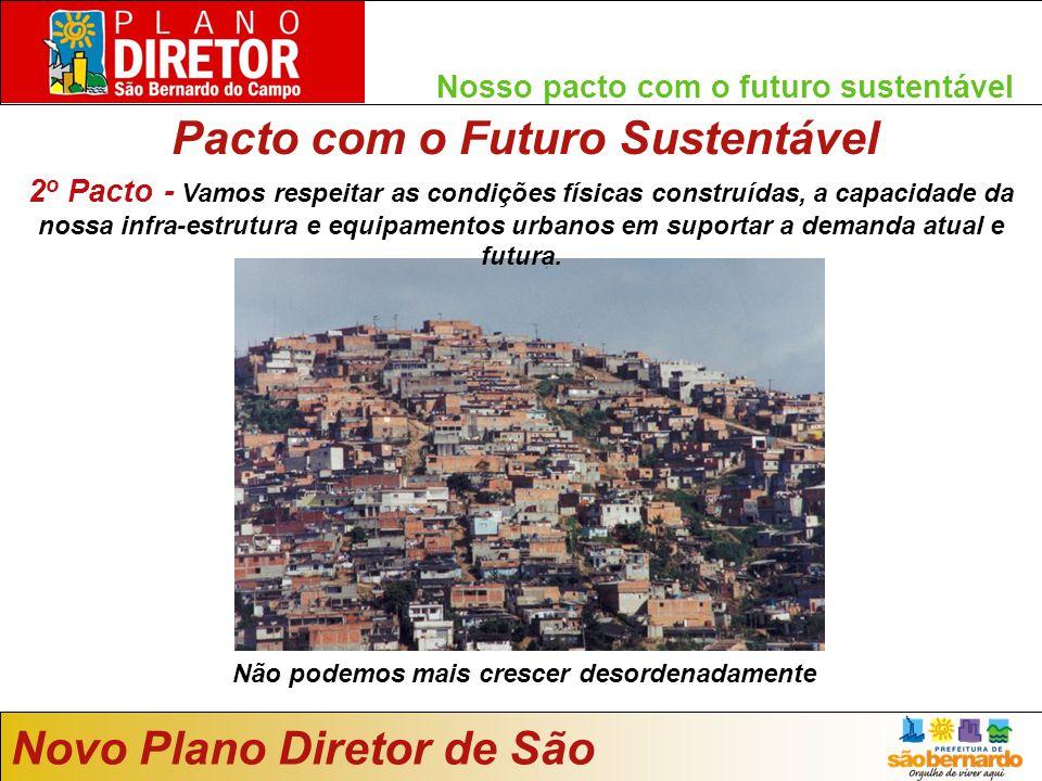 Nosso pacto com o futuro sustentável Pacto com o Futuro Sustentável Novo Plano Diretor de São Bernardo Não podemos mais crescer desordenadamente 2 o Pacto - Vamos respeitar as condições físicas construídas, a capacidade da nossa infra-estrutura e equipamentos urbanos em suportar a demanda atual e futura.