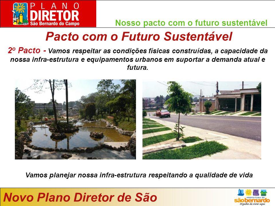 Nosso pacto com o futuro sustentável Pacto com o Futuro Sustentável Novo Plano Diretor de São Bernardo Vamos planejar nossa infra-estrutura respeitando a qualidade de vida 2 o Pacto - Vamos respeitar as condições físicas construídas, a capacidade da nossa infra-estrutura e equipamentos urbanos em suportar a demanda atual e futura.