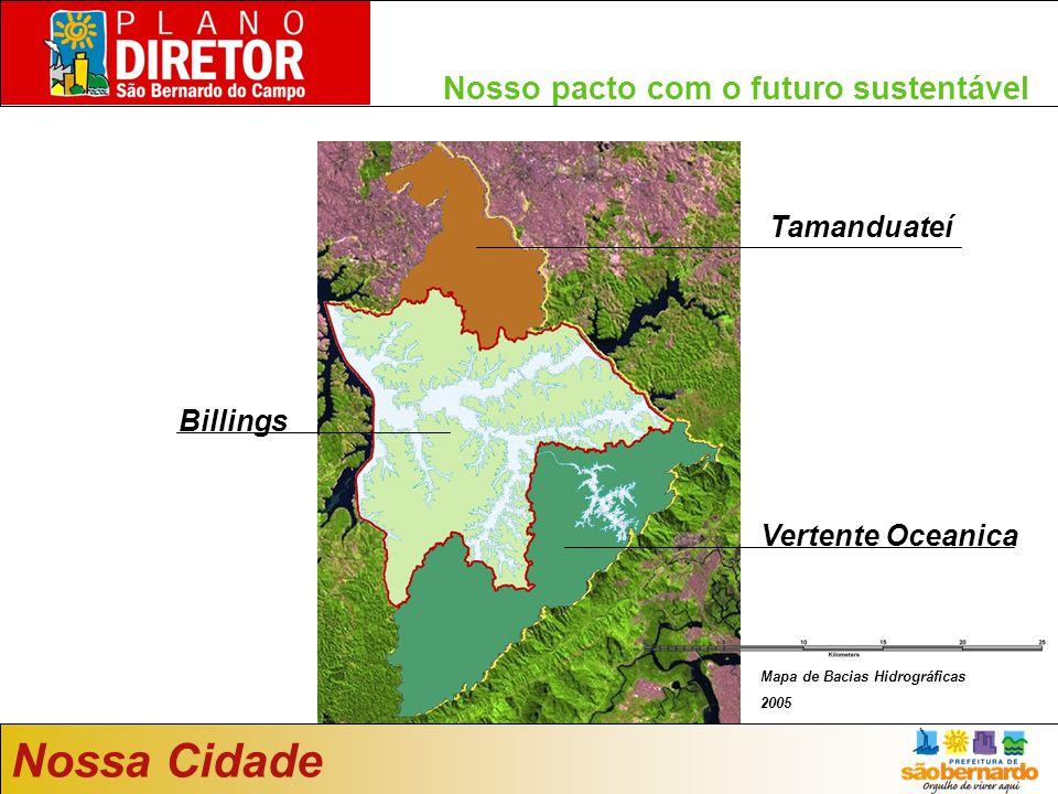 Nosso pacto com o futuro sustentável Mapa de uso do solo da Emplasa 2005 Tamanduateí Billings Vertente Oceanica Mapa de Bacias Hidrográficas 2005 Nossa Cidade