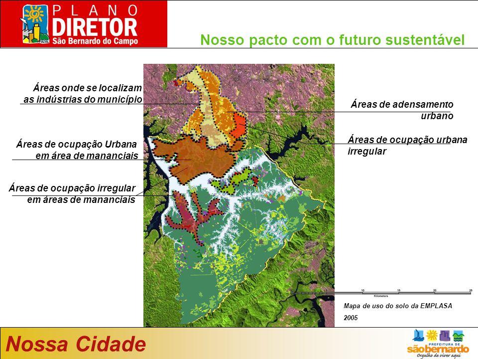 Nosso pacto com o futuro sustentável Áreas de adensamento urbano Áreas de ocupação Urbana em área de mananciais Áreas onde se localizam as indústrias