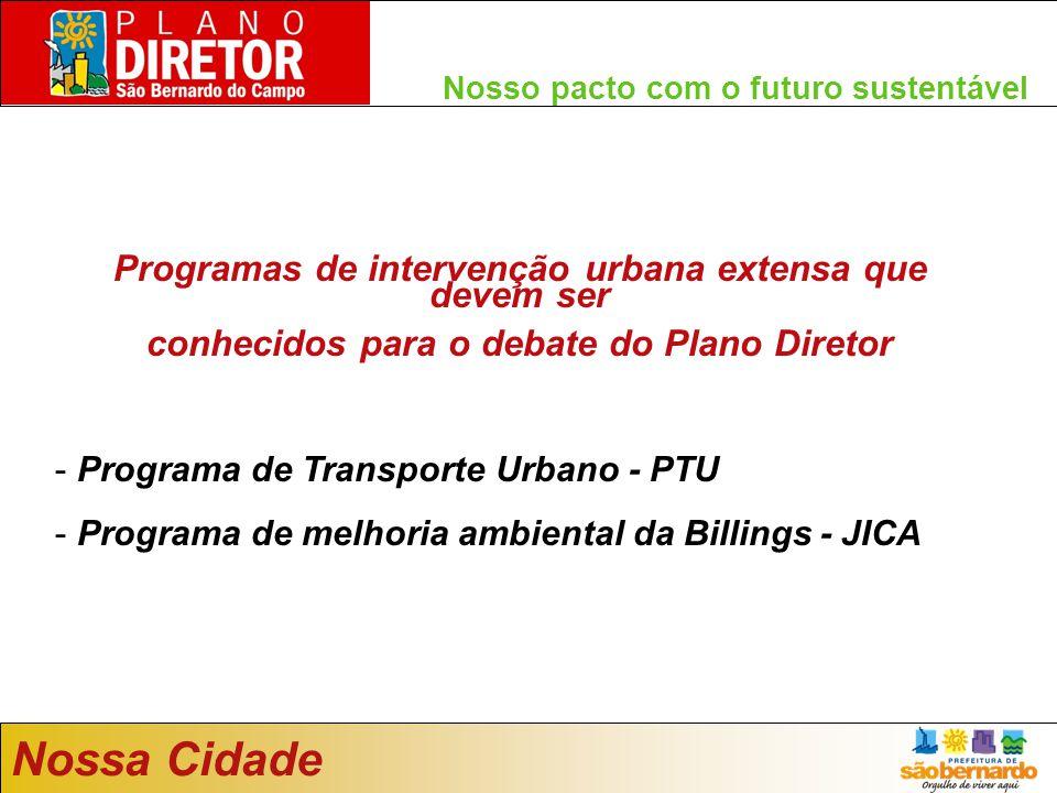Nosso pacto com o futuro sustentável Nossa Cidade Programas de intervenção urbana extensa que devem ser conhecidos para o debate do Plano Diretor - Programa de Transporte Urbano - PTU - Programa de melhoria ambiental da Billings - JICA