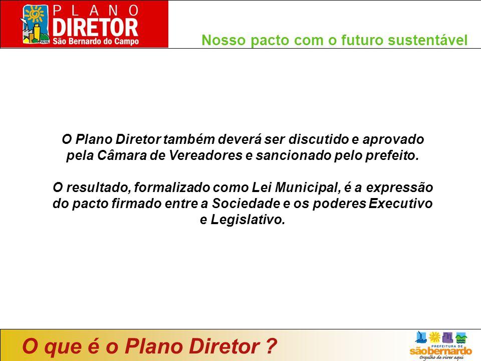 O Plano Diretor também deverá ser discutido e aprovado pela Câmara de Vereadores e sancionado pelo prefeito. O resultado, formalizado como Lei Municip