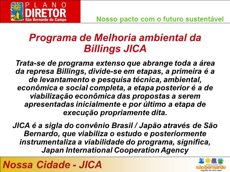 Nosso pacto com o futuro sustentável Nossa Cidade - JICA Programa de Melhoria ambiental da Billings JICA Trata-se de programa extenso que abrange toda