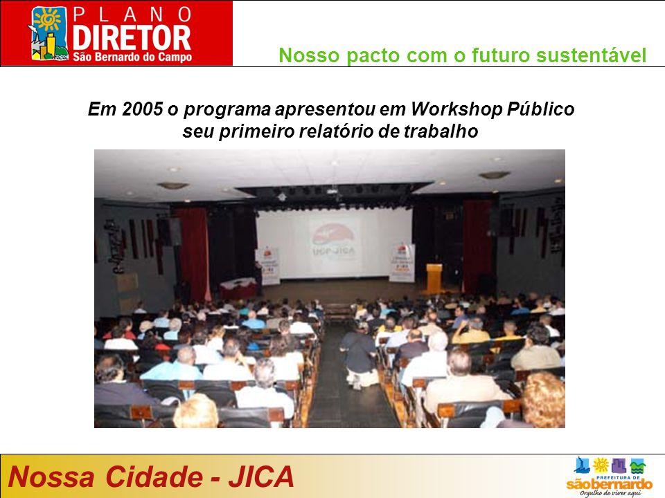 Nosso pacto com o futuro sustentável Nossa Cidade - JICA Em 2005 o programa apresentou em Workshop Público seu primeiro relatório de trabalho