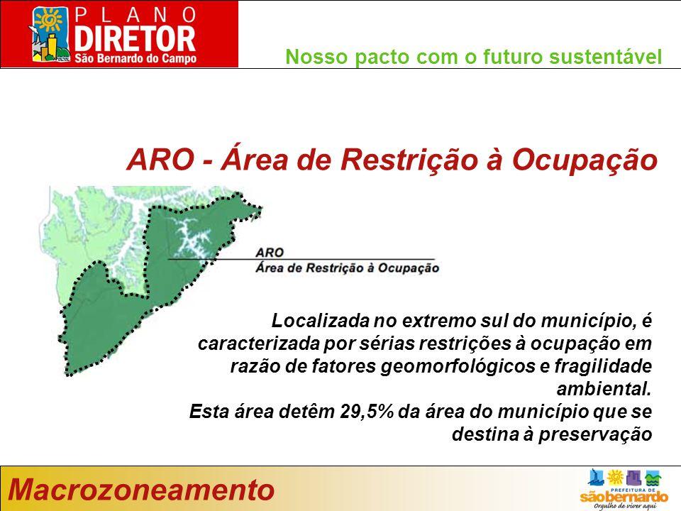 Nosso pacto com o futuro sustentável Macrozoneamento ARO - Área de Restrição à Ocupação Localizada no extremo sul do município, é caracterizada por sérias restrições à ocupação em razão de fatores geomorfológicos e fragilidade ambiental.
