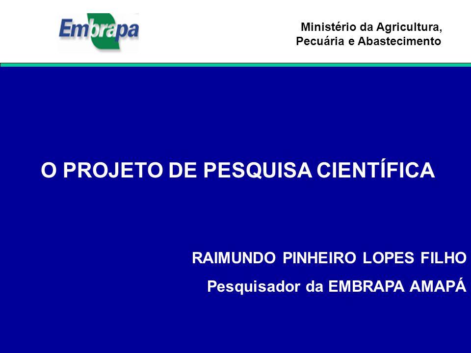 Ministério da Agricultura, Pecuária e Abastecimento O PROJETO DE PESQUISA CIENTÍFICA RAIMUNDO PINHEIRO LOPES FILHO Pesquisador da EMBRAPA AMAPÁ