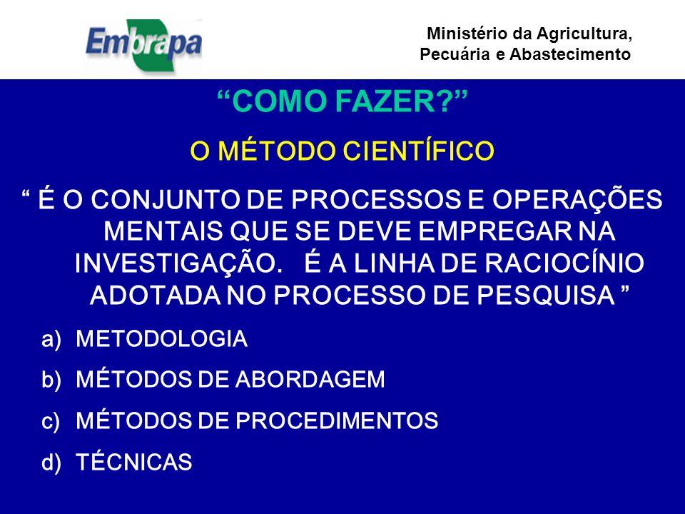 Ministério da Agricultura, Pecuária e Abastecimento COMO FAZER? O MÉTODO CIENTÍFICO É O CONJUNTO DE PROCESSOS E OPERAÇÕES MENTAIS QUE SE DEVE EMPREGAR NA INVESTIGAÇÃO.