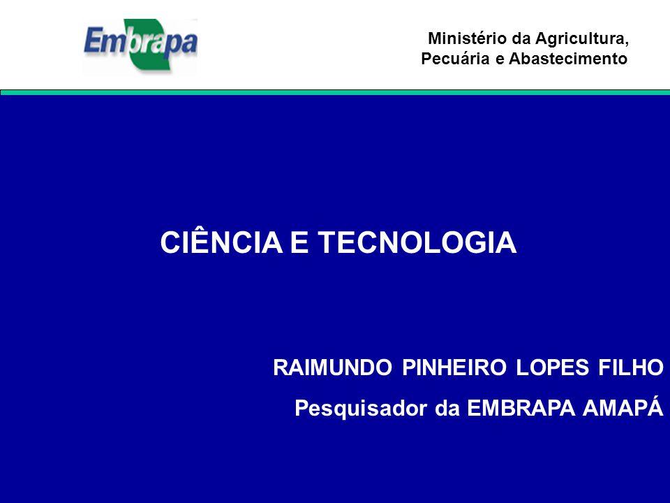 Ministério da Agricultura, Pecuária e Abastecimento CIÊNCIA E TECNOLOGIA RAIMUNDO PINHEIRO LOPES FILHO Pesquisador da EMBRAPA AMAPÁ