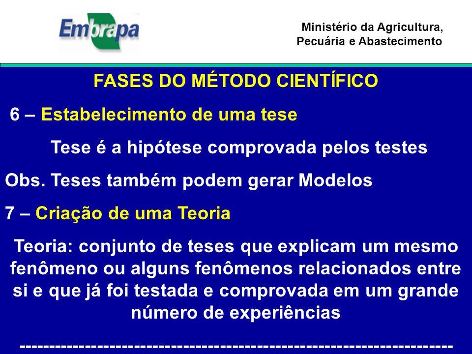 Ministério da Agricultura, Pecuária e Abastecimento FASES DO MÉTODO CIENTÍFICO 6 – Estabelecimento de uma tese Tese é a hipótese comprovada pelos test