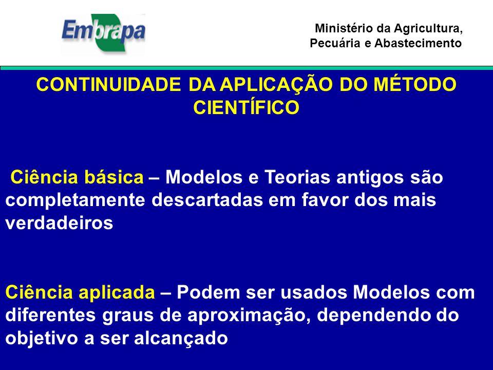 Ministério da Agricultura, Pecuária e Abastecimento CONTINUIDADE DA APLICAÇÃO DO MÉTODO CIENTÍFICO Ciência básica – Modelos e Teorias antigos são comp