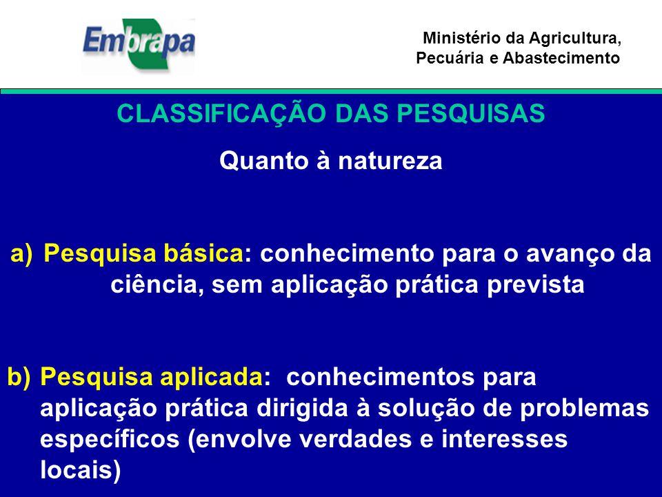 Ministério da Agricultura, Pecuária e Abastecimento CLASSIFICAÇÃO DAS PESQUISAS Quanto à natureza a)Pesquisa básica: conhecimento para o avanço da ciê