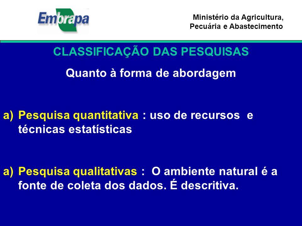 Ministério da Agricultura, Pecuária e Abastecimento CLASSIFICAÇÃO DAS PESQUISAS Quanto à forma de abordagem a)Pesquisa quantitativa : uso de recursos