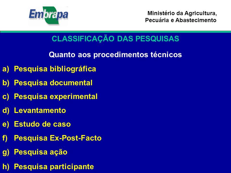 Ministério da Agricultura, Pecuária e Abastecimento CLASSIFICAÇÃO DAS PESQUISAS Quanto aos procedimentos técnicos a)Pesquisa bibliográfica b)Pesquisa