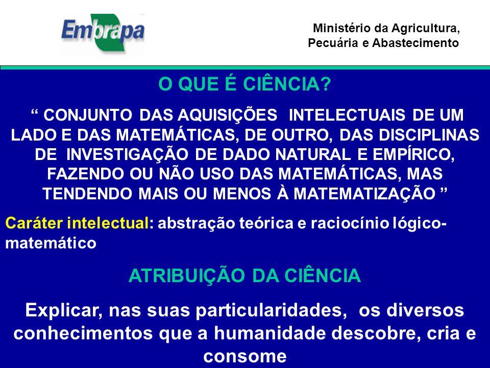 """Ministério da Agricultura, Pecuária e Abastecimento O QUE É CIÊNCIA? """" CONJUNTO DAS AQUISIÇÕES INTELECTUAIS DE UM LADO E DAS MATEMÁTICAS, DE OUTRO, DA"""