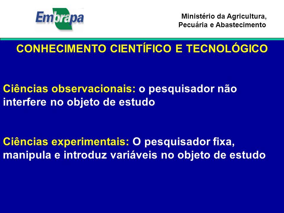 Ministério da Agricultura, Pecuária e Abastecimento CONHECIMENTO CIENTÍFICO E TECNOLÓGICO Ciências observacionais: o pesquisador não interfere no obje