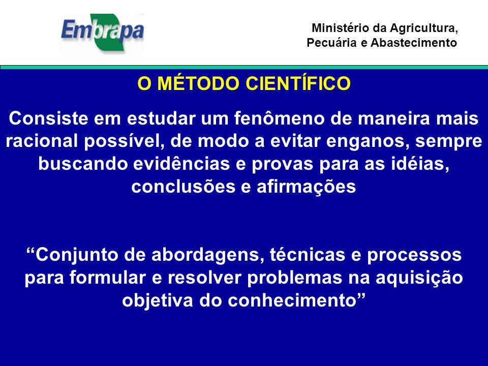 Ministério da Agricultura, Pecuária e Abastecimento O MÉTODO CIENTÍFICO Consiste em estudar um fenômeno de maneira mais racional possível, de modo a e