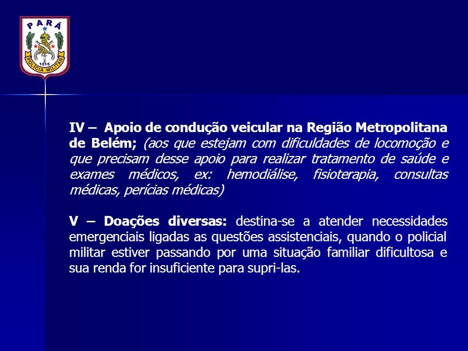 IV – Apoio de condução veicular na Região Metropolitana de Belém; (aos que estejam com dificuldades de locomoção e que precisam desse apoio para reali
