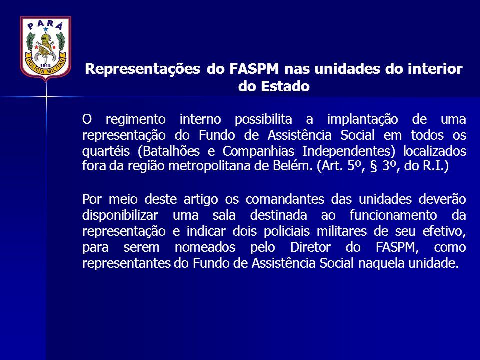 Representações do FASPM nas unidades do interior do Estado O regimento interno possibilita a implantação de uma representação do Fundo de Assistência
