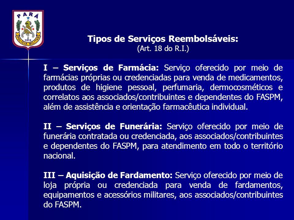 Tipos de Serviços Reembolsáveis: (Art. 18 do R.I.) I – Serviços de Farmácia: Serviço oferecido por meio de farmácias próprias ou credenciadas para ven
