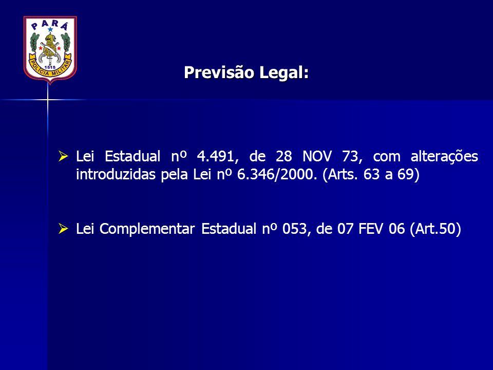 Previsão Legal:  Lei Estadual nº 4.491, de 28 NOV 73, com alterações introduzidas pela Lei nº 6.346/2000. (Arts. 63 a 69)  Lei Complementar Estadual