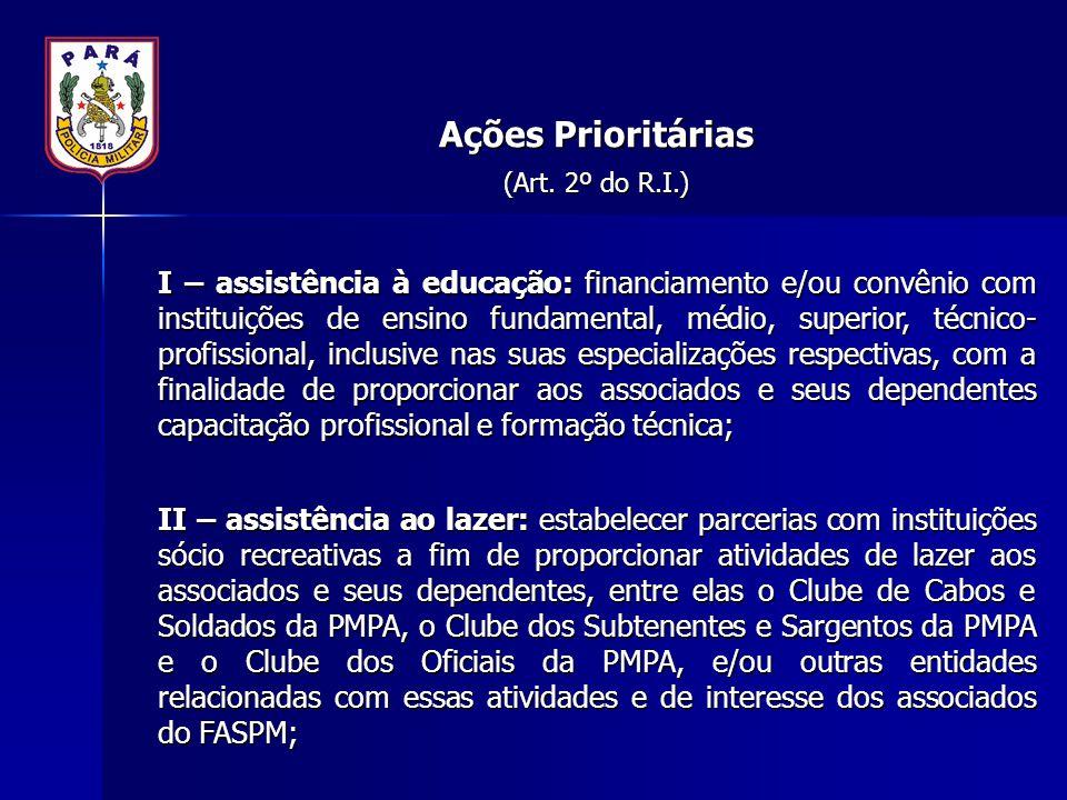 Ações Prioritárias (Art. 2º do R.I.) I – assistência à educação: financiamento e/ou convênio com instituições de ensino fundamental, médio, superior,